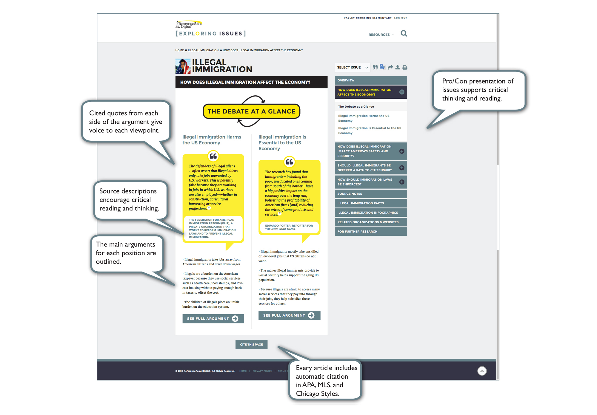 Debate At A Glance Referencepoint Digital Exploring Issues Database 17 Best  Ideas About Apa Format Website